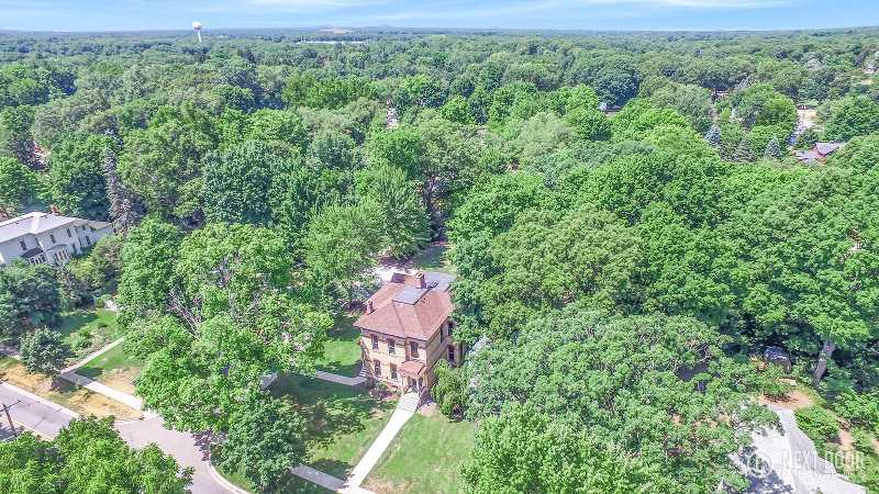 aerial photo of historic Montague MI home for sale